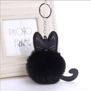 Black cat Pom Pom keychain/purse charm